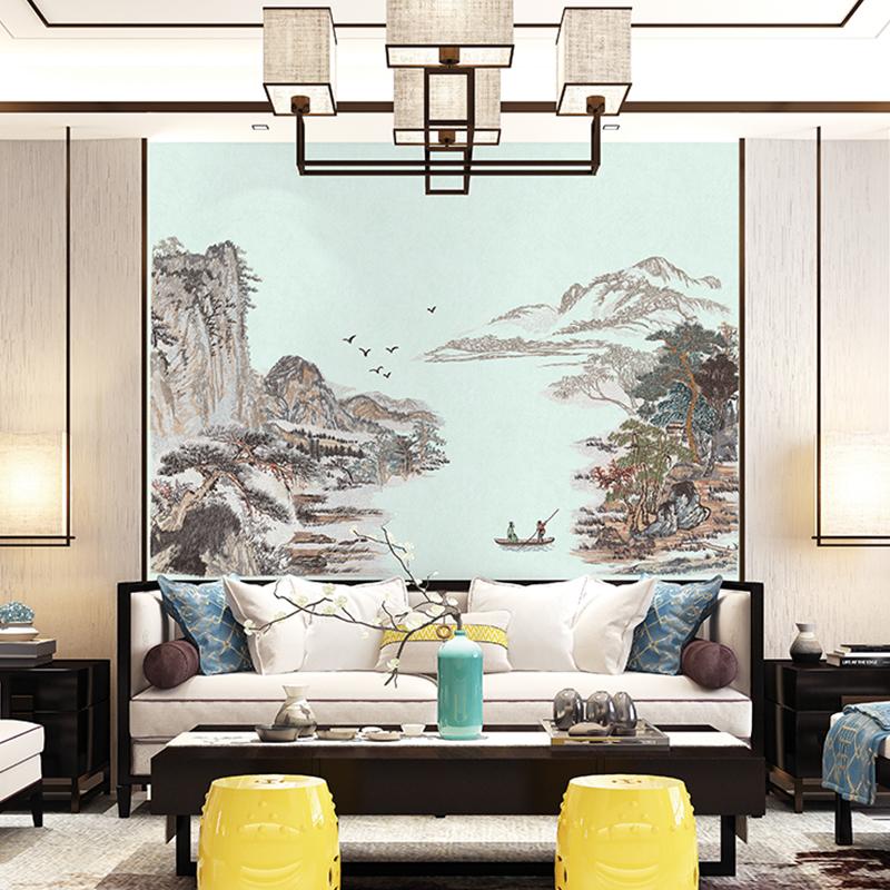 新中式獨秀壁布刺繡電視沙發玄關背景墻布高端獨繡志存高遠長城