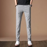 Summer thin section of ice silk slacks men Slim feet Korean tide wild stretch trousers straight male long pants