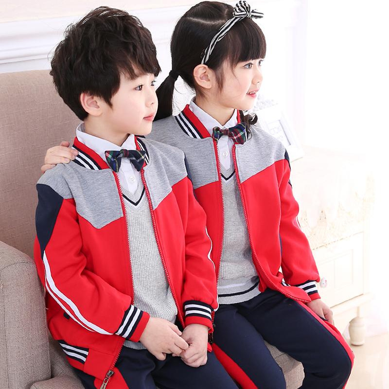 幼儿园园服春秋装小学生校服套装儿童班服秋季运动服三件套英伦风