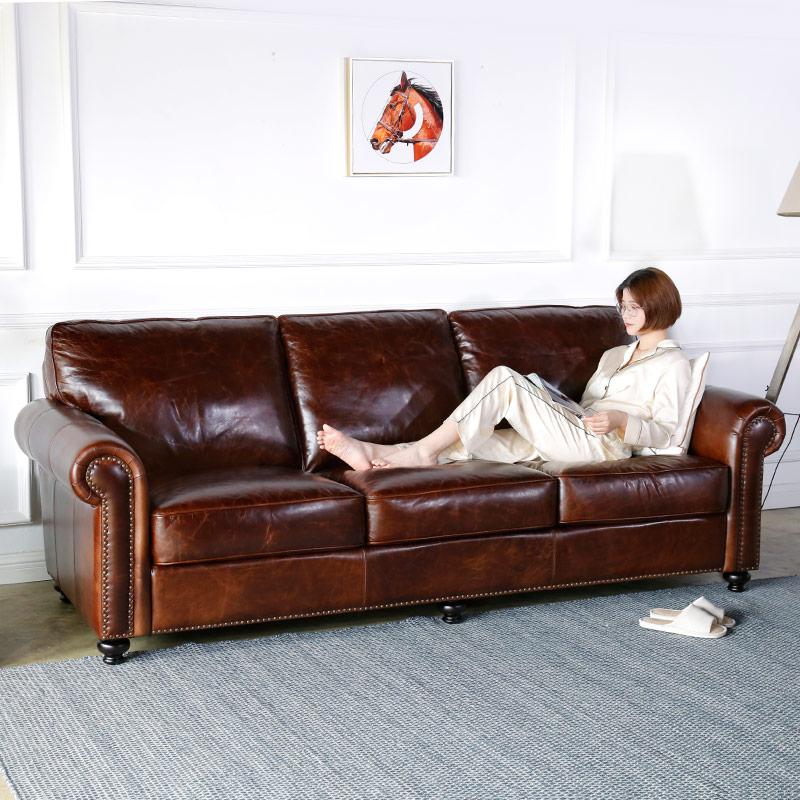 美式真皮沙发头层牛皮 油蜡皮沙发 皮艺欧式复古三人客厅组合 410