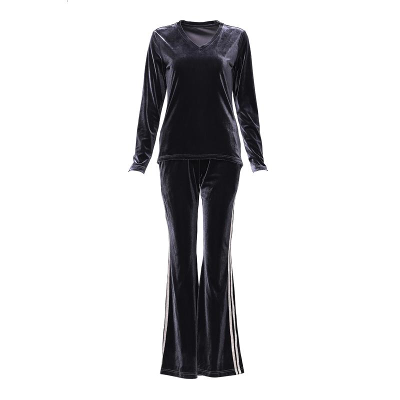 金丝绒套装长袖女春秋季大码时尚欧洲站高端休闲运动风丝绒两件套