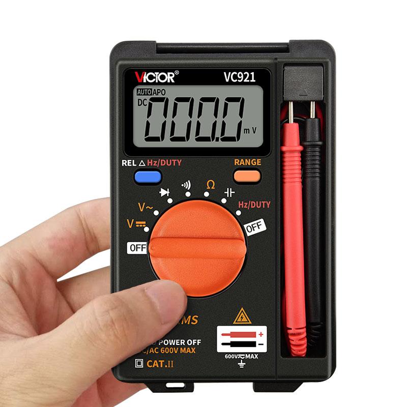 胜利正品数字万用表VC921高精度数显多用表 便携式袖珍迷你万能表