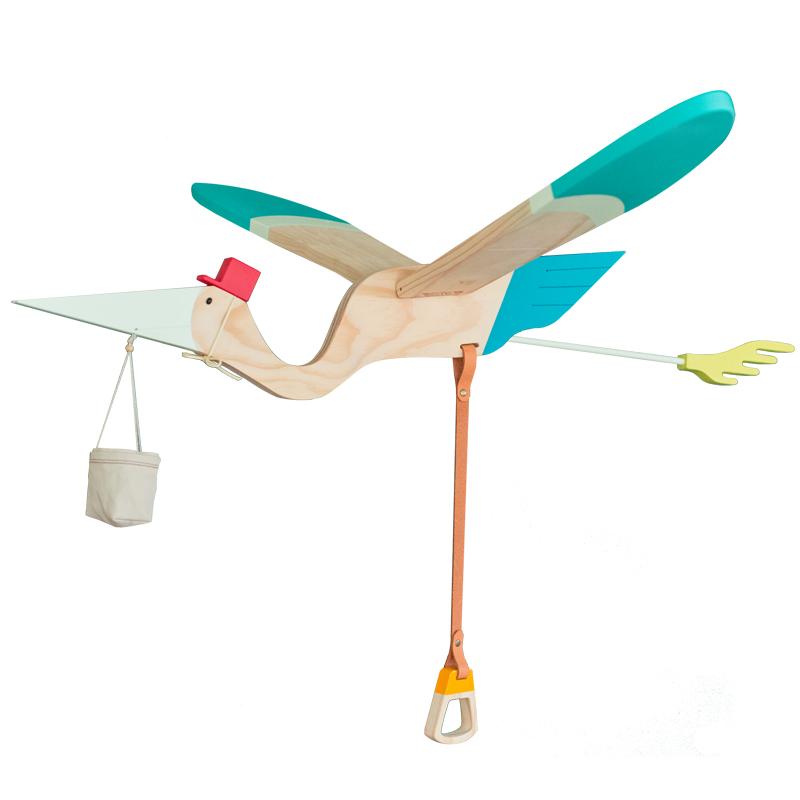 台湾正版进口松木送子鸟家居挂饰婴幼儿房日式清新小飞鸟原木吊饰
