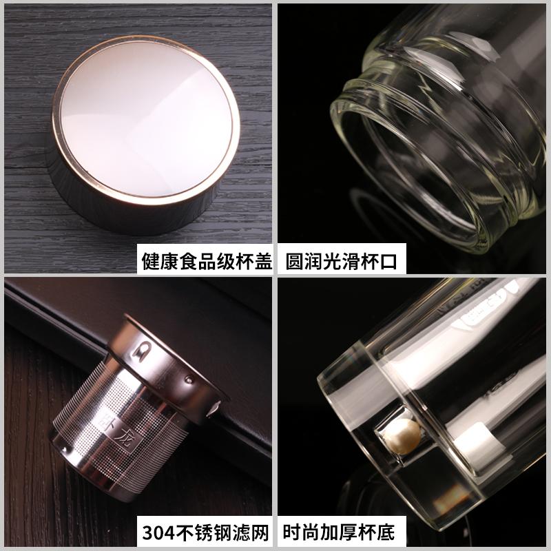 卧龙高档水晶玻璃杯男便携保温双层带盖过滤透明水杯隔热泡茶杯子 - 图1