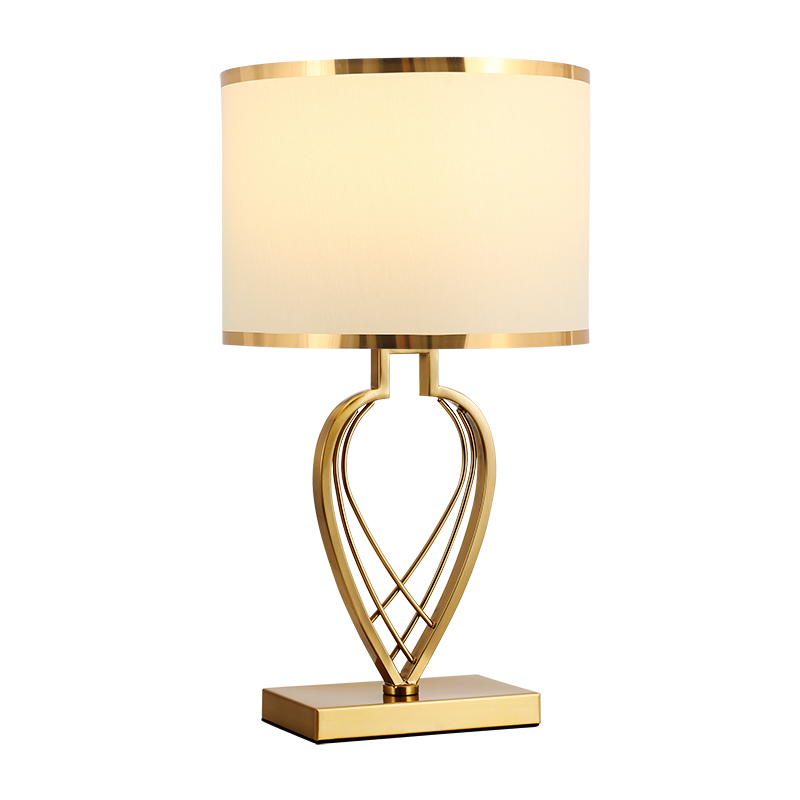 后现代轻奢金属风装饰台灯床头灯卧室温馨布艺北欧美式样板房客厅