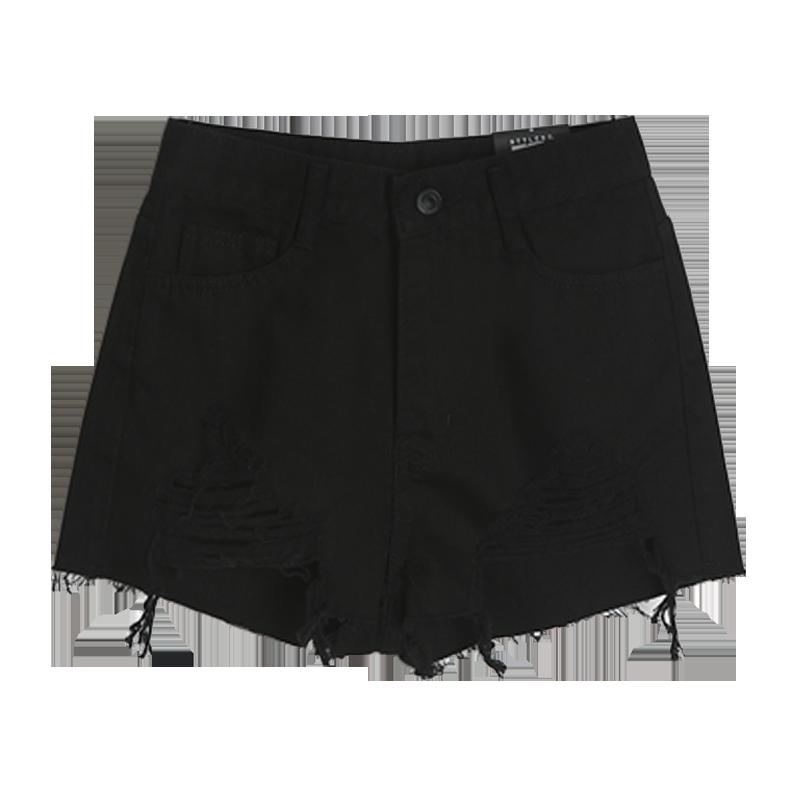 2019新款韩版学生高腰破洞网红黑色牛仔短裤女夏a字宽松阔腿热裤
