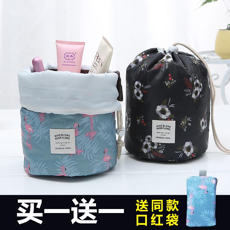 旅行洗漱包圓筒抽繩化妝包便攜束口收納袋化妝品收納包可愛水桶包