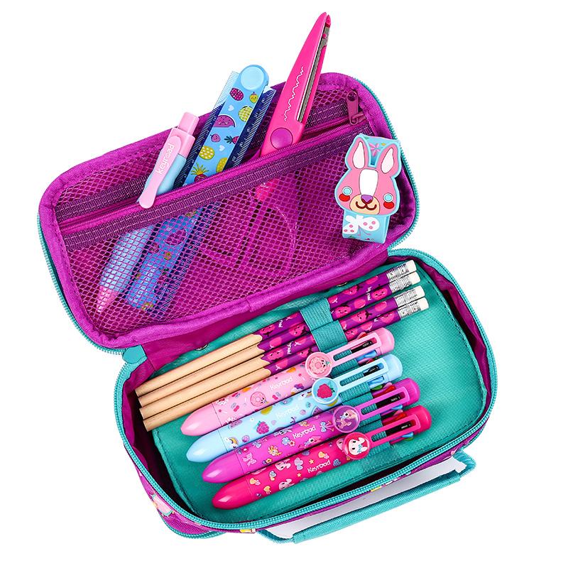 启路男女小学生大容量笔袋女孩铅笔盒女童男孩多功能多层文具盒