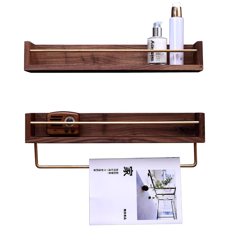 北欧黑胡桃厨房调味品实木置物架壁挂调料架卫生间化妆品收纳架