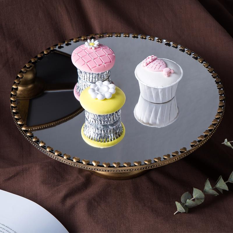 欧式金属家居软装玻璃镜面托盘饰品摆件双层果盘点心饼干蛋糕盘