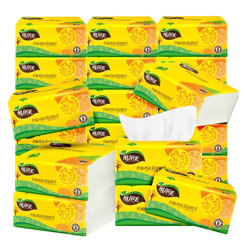 维尔美原木加厚3层24包整箱抽纸