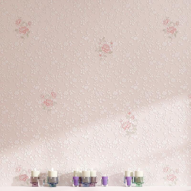 韩式花朵清新田园小碎花温馨立体卧室墙纸粉色女孩公主房欧式壁纸
