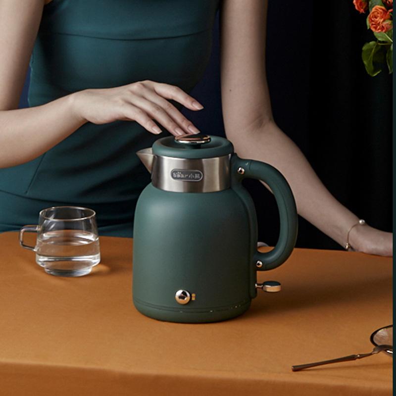 小熊复古电热水壶保温一体家用电烧水茶壶不锈钢大容量恒温开水壶