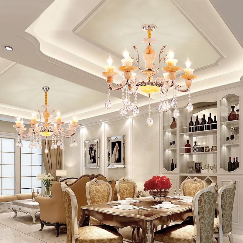 欧式客厅吊灯奢华大气玉石水晶吊灯现代简约卧室餐厅蜡烛水晶吊灯