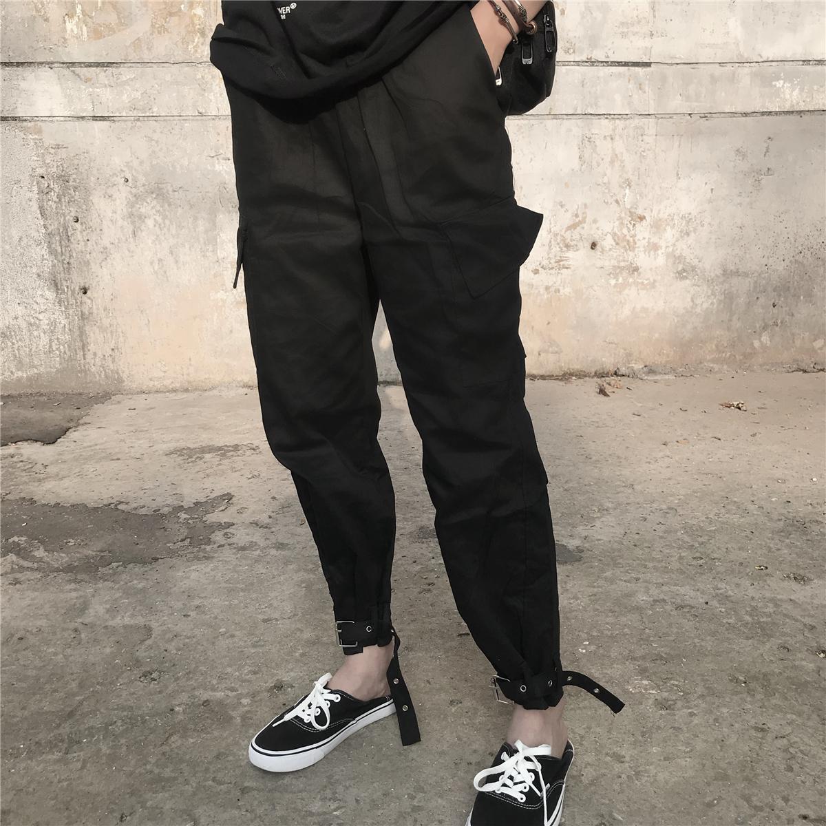纯棉港味chic女夏新款美式街头hiphop大口袋哈伦工装裤可束脚长裤