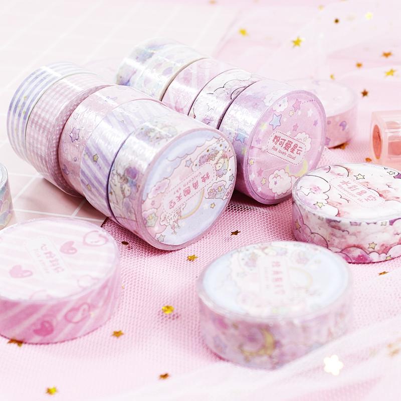 粉色少女心可爱和纸胶带手帐笔记本装饰整卷爱心独角兽手帐素材