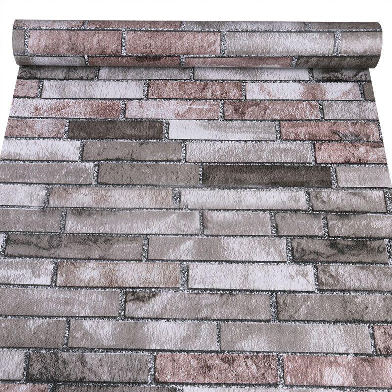 壁纸学生宿舍客厅餐厅厨房防油仿砖复古墙纸 pvc 理发店砖头墙纸