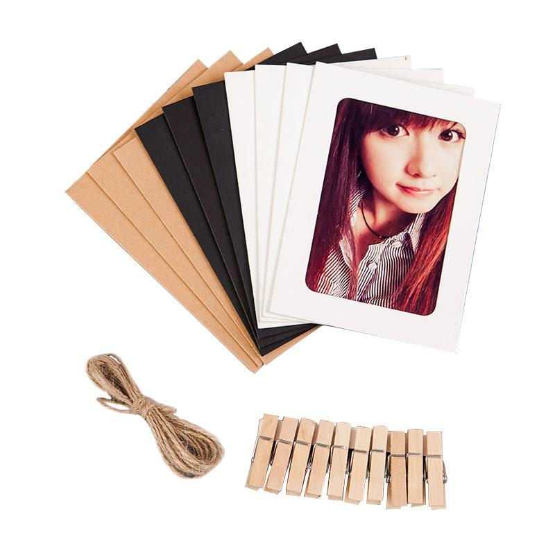 创意DIY挂墙组合相框卡通悬挂纸5 6 7寸照片墙麻绳夹子3D彩色蝴蝶