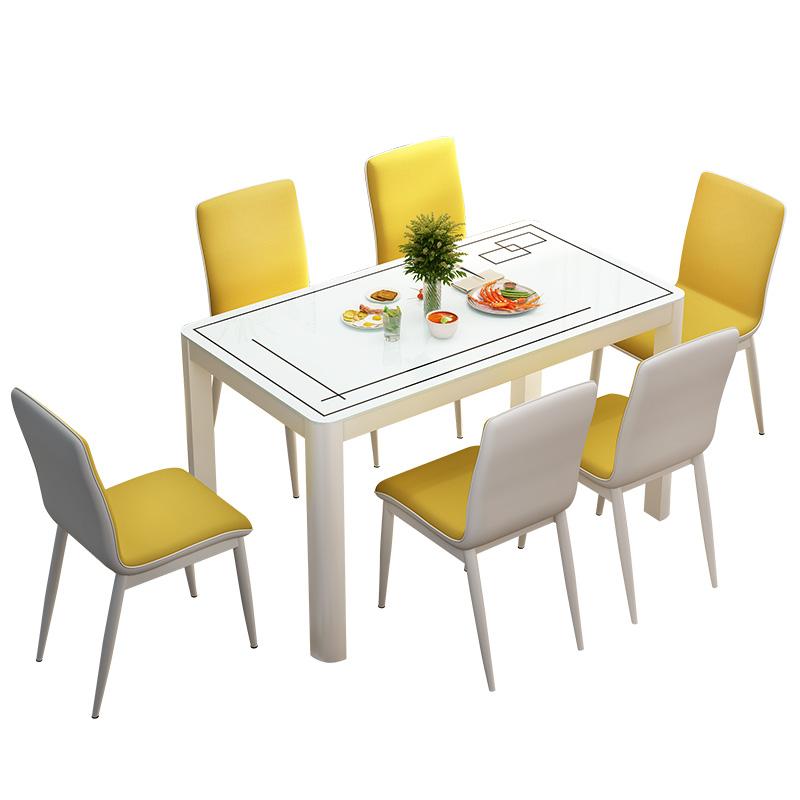 人椅子家用简约现代小户型吃饭桌子玻璃餐桌 6 4 餐桌椅组合长方形