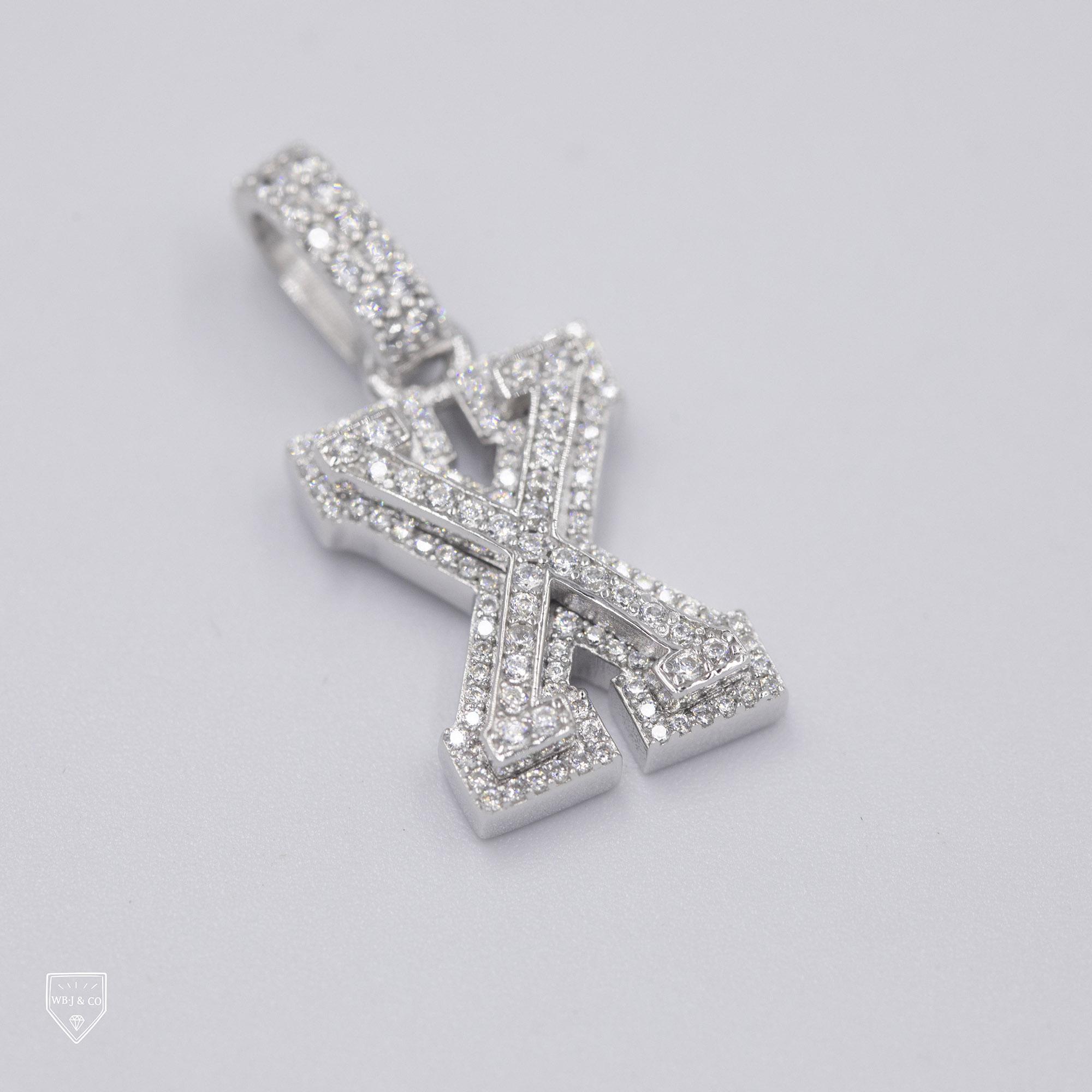 满钻字母 字母吊坠 银 925 银饰 定制珠宝 WBJ