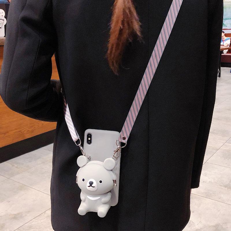 小熊零钱包手机壳背带斜跨苹果8plus女卡通可爱立体定制