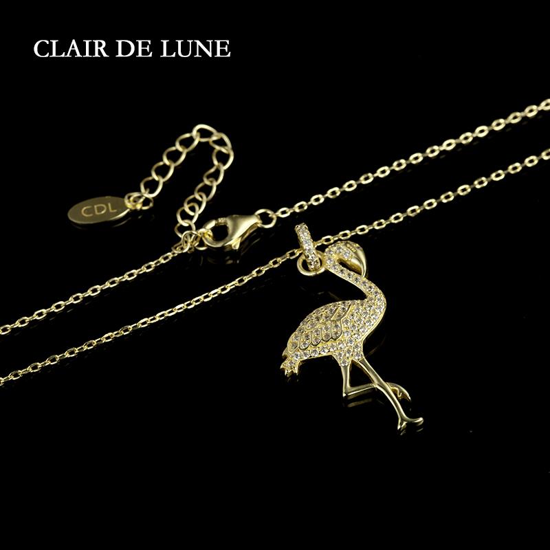 Clair De Lune法国金色淡雅镶晶钻火烈鸟女士纯银项链  秋季新尚