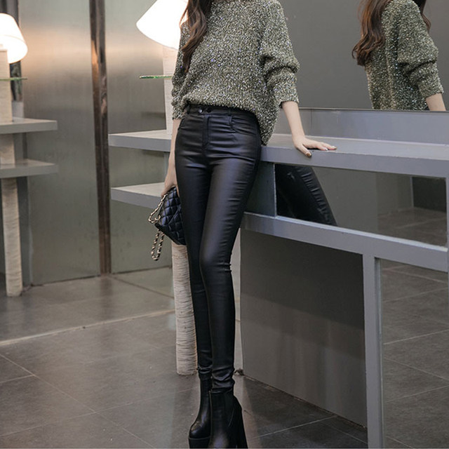 High-waist autumn and winter women's thin fleece outer wear bottoming imitation leather pants, women's tight-fitting large-size thin elastic pencil footwear