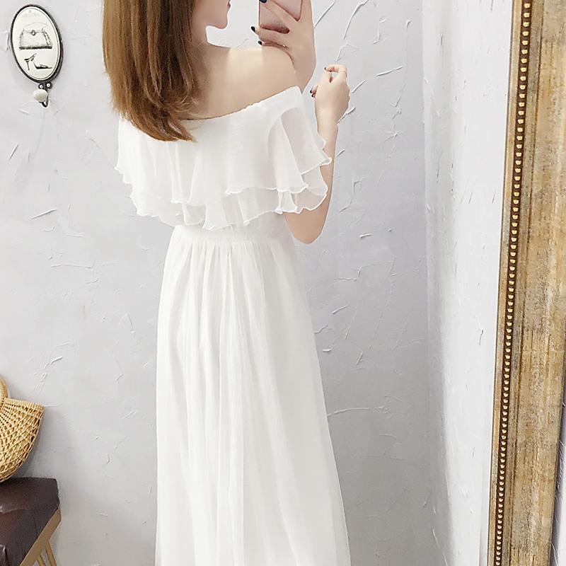 年流行新款显瘦裙子夏天 2019 超仙一字肩白色雪纺连衣裙女夏季长款