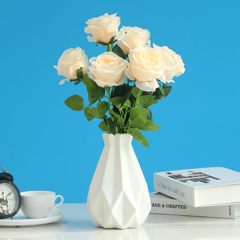 假花仿真玫瑰花客厅装饰摆设餐桌花摆花塑料花束干花摆件花艺用品