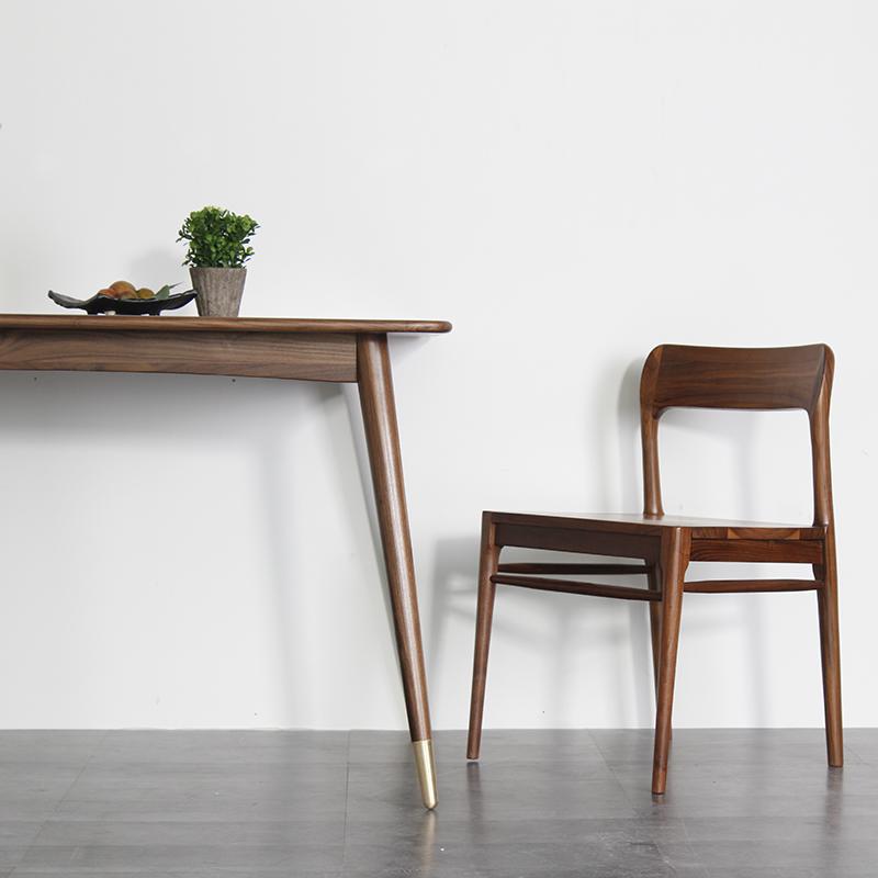 胡桃木餐桌椅现代简约北欧实木餐桌长方形小户型实木餐桌椅组合
