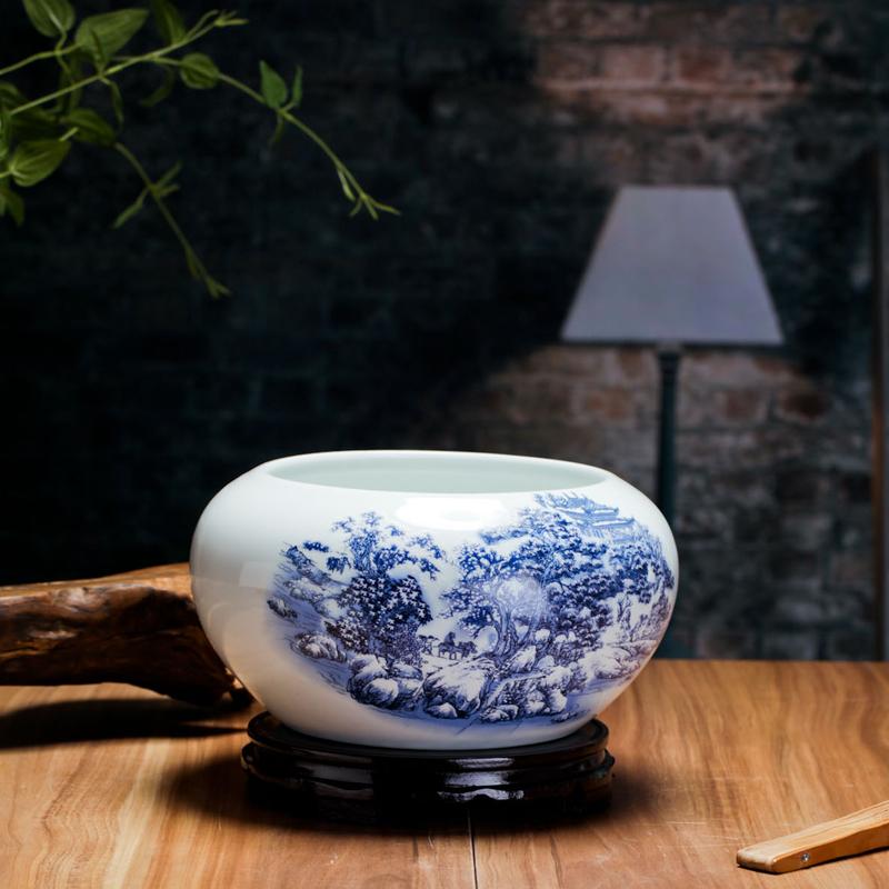 景德镇陶瓷器青花金鱼缸睡莲碗莲乌龟缸养鱼盆笔洗客厅桌面摆件