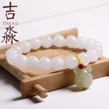 Hotan Jade White Jade Girl 10MM Safe Buckle Bracelet Original Birth Year Buddha Bracelet Valentine's Day Gift for Girlfriends