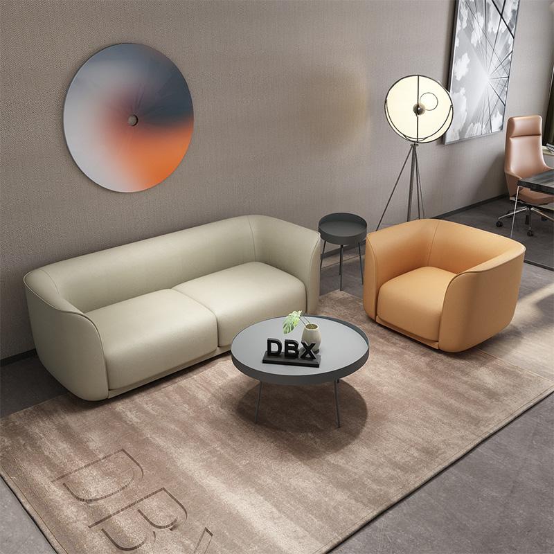 辦公室會客區接待休閑創意三人位簡約現代茶幾組合套裝皮質小沙發