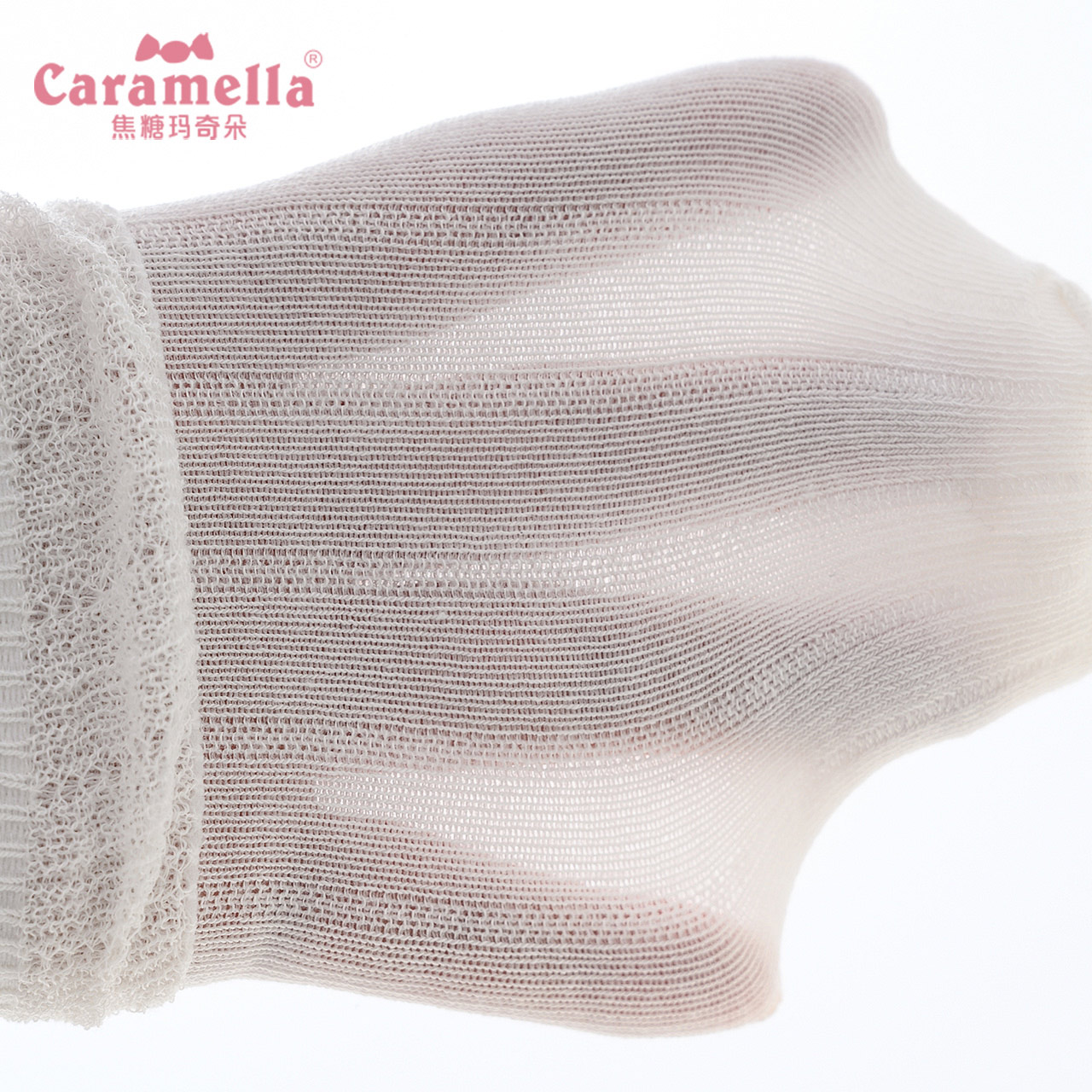 caramella 儿童袜子春秋薄款学院风宝宝袜子透气蕾丝女童白色短袜