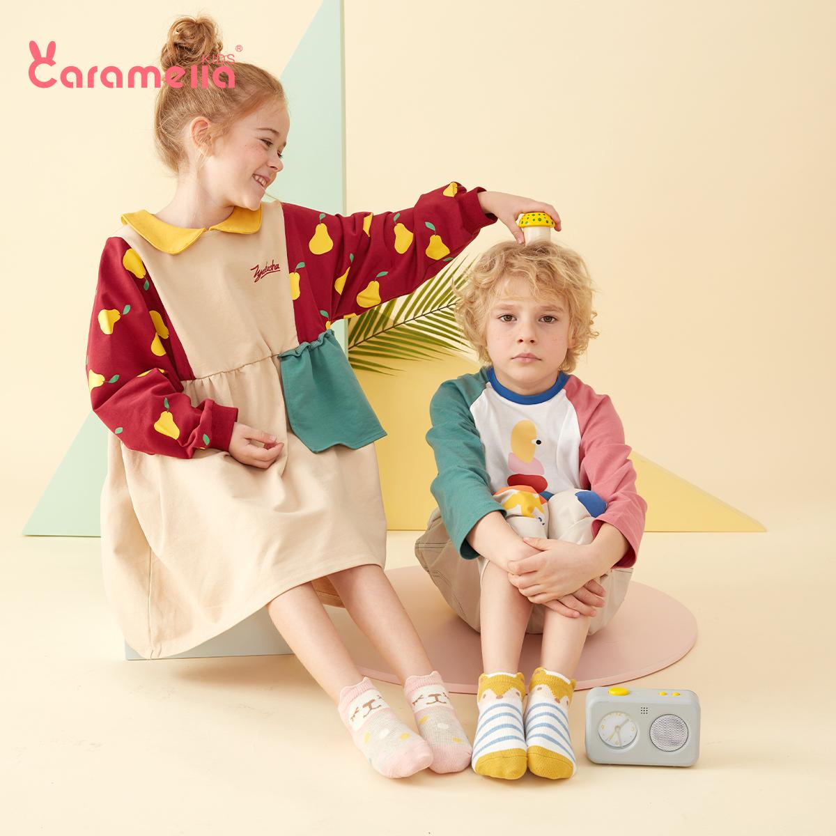 caramella春秋薄款儿童棉袜男女童宝宝纯棉袜子婴儿地板袜短袜子