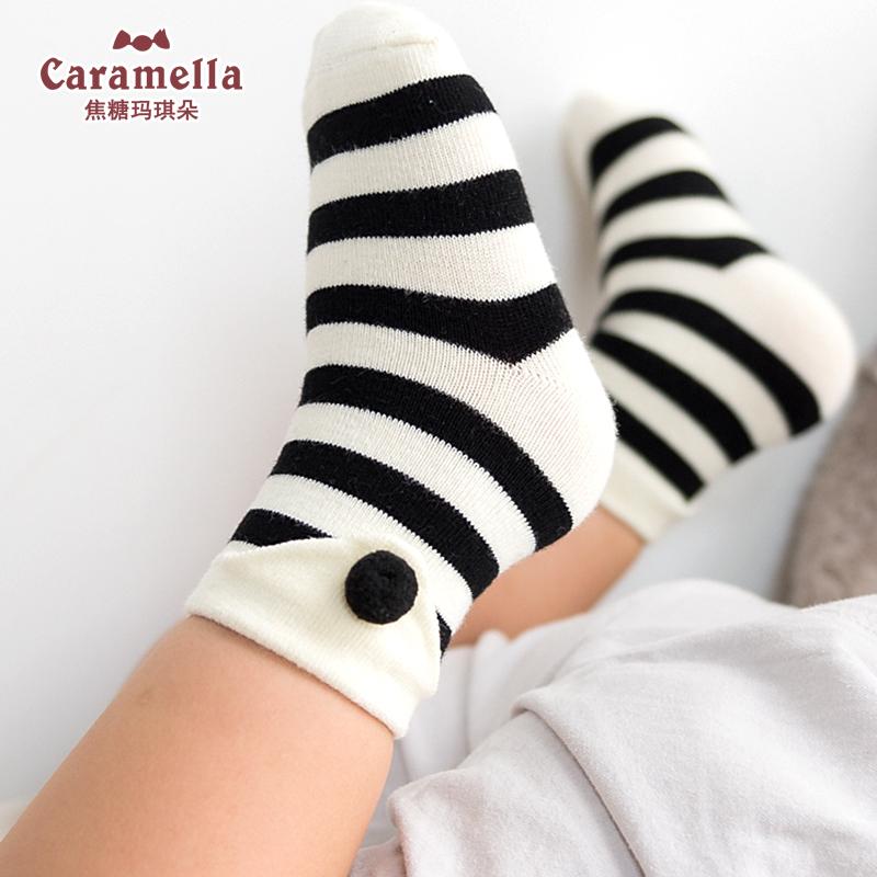 caramella春秋纯棉男女童袜儿童中筒袜子地板袜宝宝袜子婴儿袜子