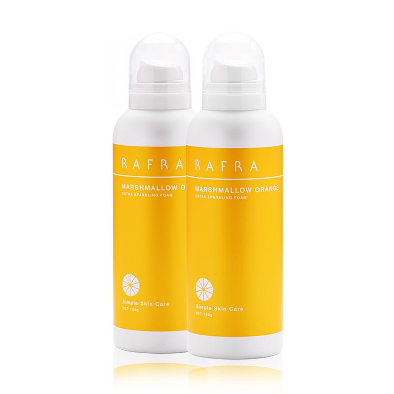 RAFRA香橙碳酸洁面慕斯150g*2瓶氨基酸泡沫洗面奶温和洁面摩丝