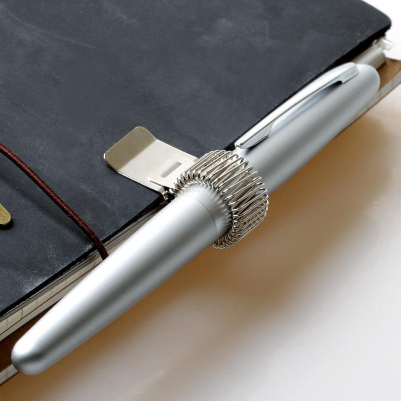 日本MIDORI 笔记本手账百搭可移动拆卸金属弹簧伸缩笔夹书本夹子
