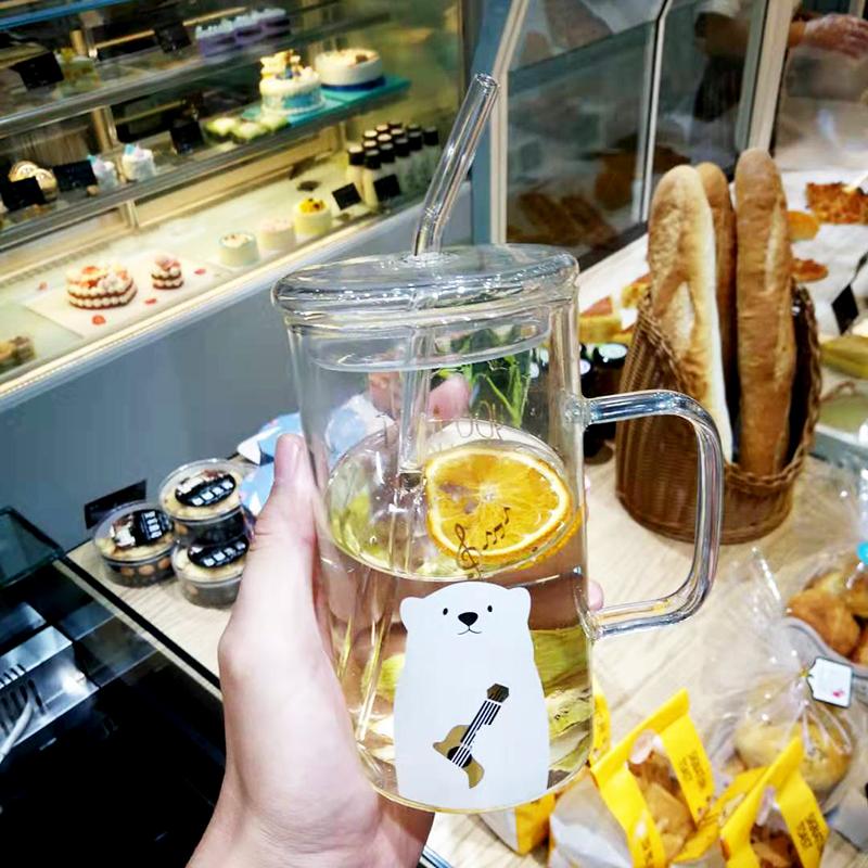 可愛玻璃杯女帶蓋帶把吸管杯超萌大容量馬克杯辦公室水杯奶昔杯子