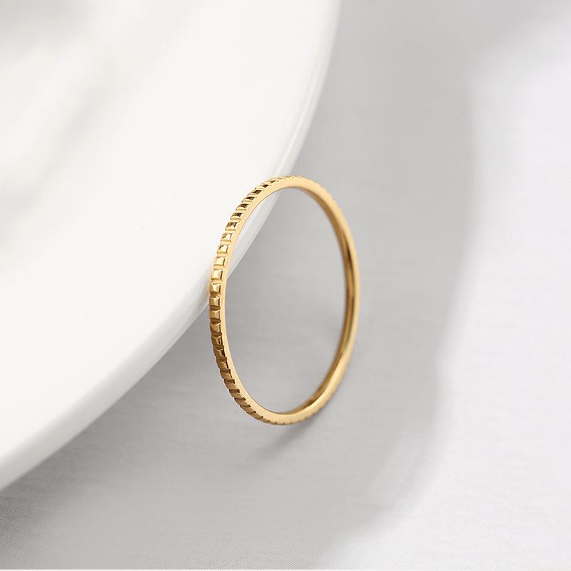 镀金小方块凸面光圈戒指日韩简约一圈指环潮流极简食指尾戒 18K