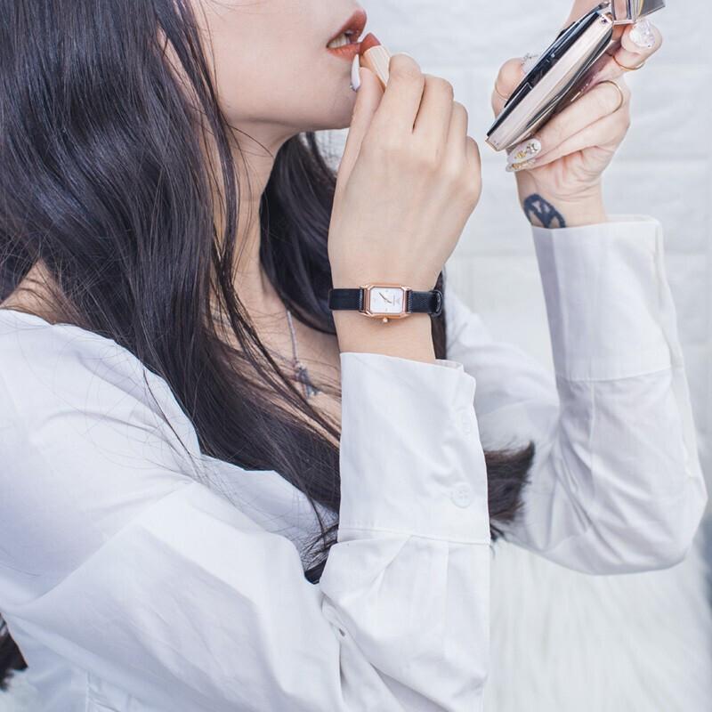 Armani 阿玛尼手表女 欧美时尚方盘镶钻皮带石英女表AR11248 正品