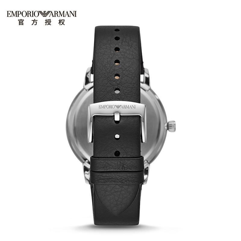 Armani阿玛尼时尚黑色皮带手表男商务男士腕表手链套装AR80026