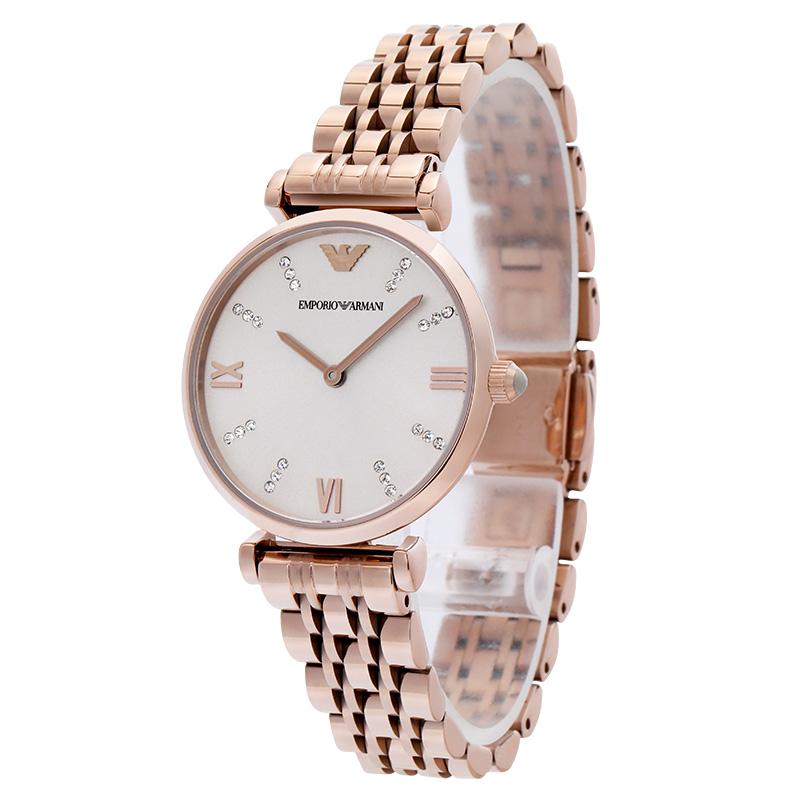 Arman i阿玛尼手表女 欧美时尚镶钻钢带石英女士腕表AR11059 正品