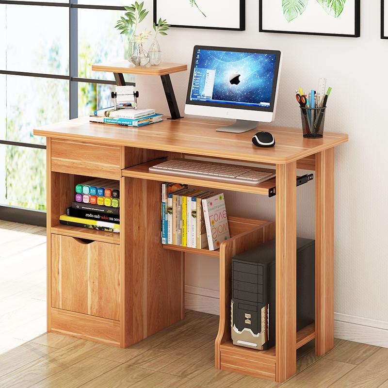 实木书桌书柜一体家用学习桌带书架儿童台式写字桌松木转角电脑桌