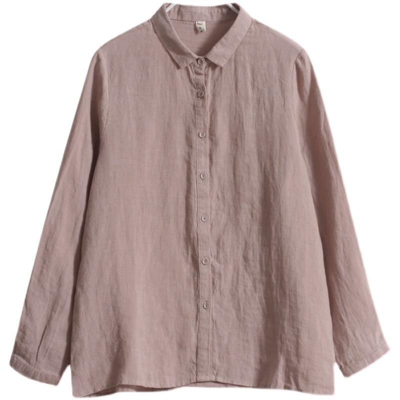 夏季新款长袖棉麻衬衣女装纯棉休闲上衣小众宽松亚麻衬衫薄款 No.3