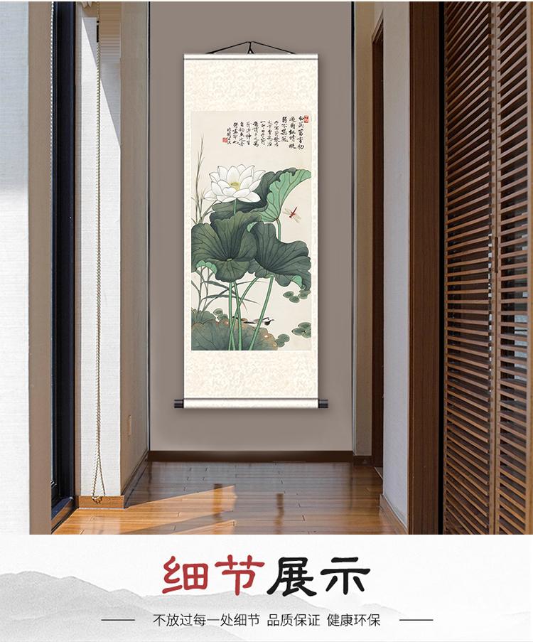 荷花蜻蜓丝绸国画家居装饰古色古香送礼送老外客户礼品画水墨画