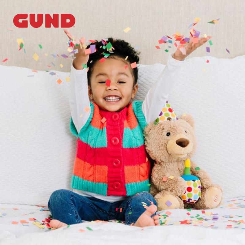Gund儿童生日礼物会唱生日快乐歌经典泰迪熊毛绒玩具宝宝周岁礼品