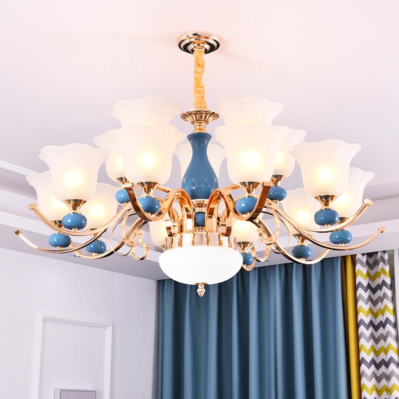 新款灯具 2018 欧式客厅中式陶瓷吊灯现代大气奢华家用卧室别墅餐厅