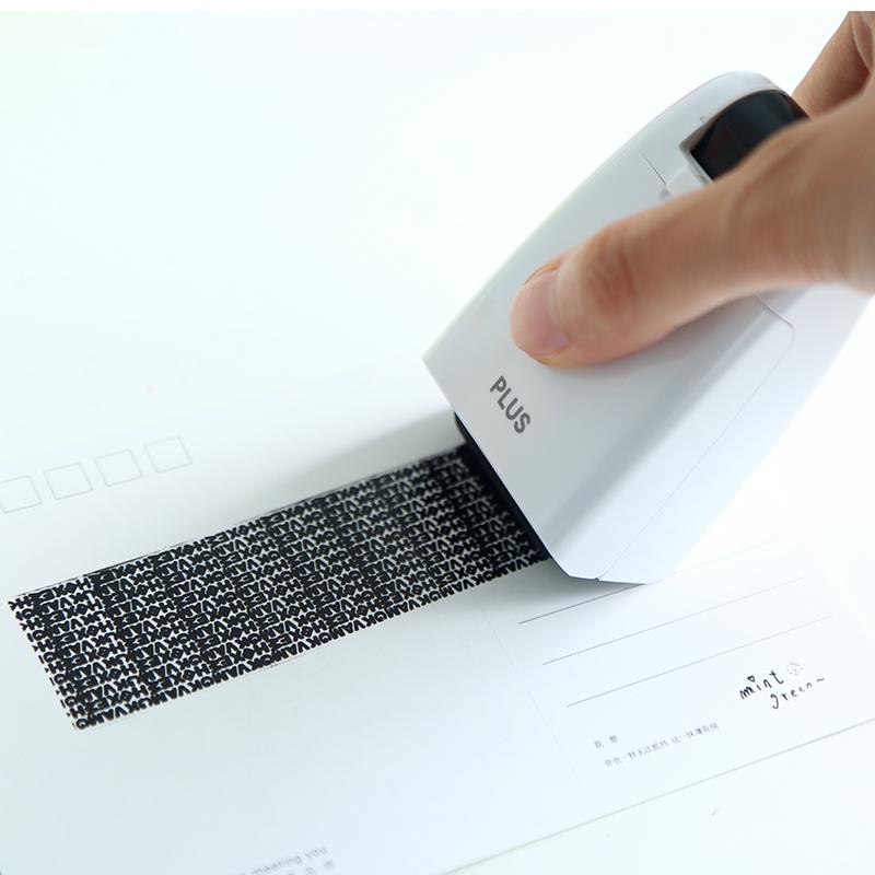日本文具plus普乐士滚轮式乱码保密印章快递单地址安全个人隐私信息保护神器盖字棒防泄密泄露涂抹遮盖消除笔