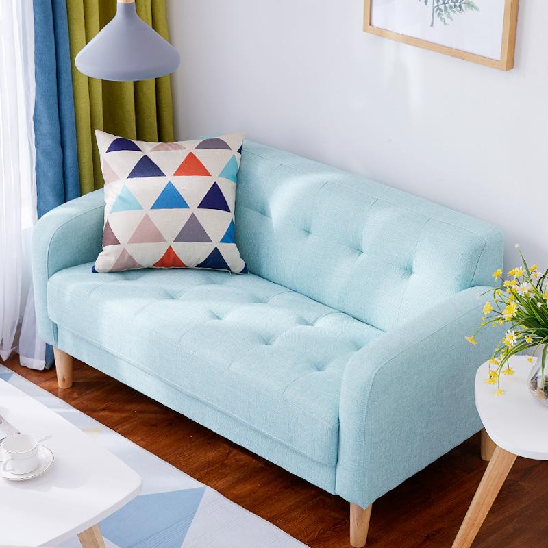 双人沙发小户型两人沙发布艺出租房经济型现代简约卧室迷你小沙发